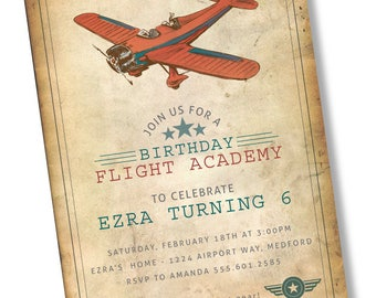 CUSTOM Vintage Airplane Invitation 5x7