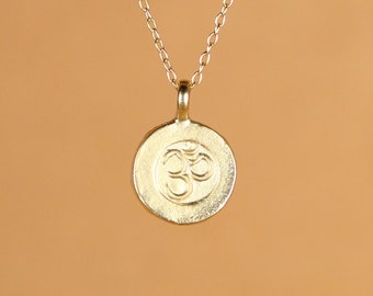 Gold ohm necklace - yoga necklace - meditation necklace - zen - peace - a 22k gold overlay ohm charm on a 14k gold vermeil chain