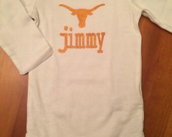 Texas Longhorns Baby Onesie Monogrammed with Name/Initials