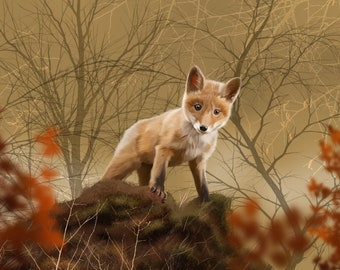 "Fox Cub, 12x16""/8x10"" Giclee Art Print"