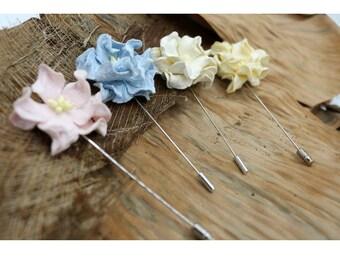 Blue Pink Cream Mulberry Paper Flower Lapel Pins,Handmade Wedding Boutonniere,Men Lapel pins (FL 307)