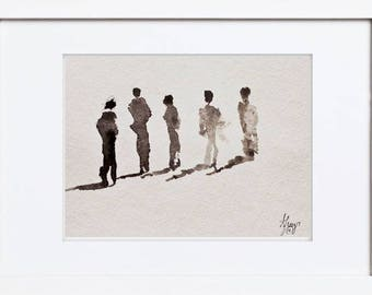 Silouhettes PEOPLE WALKING Together * Original Painting on Cold Press Paper * Ready To Frame * Black and White Wall Art