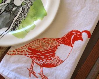 Cloth Napkins - Screen Printed Cloth Napkins - Dinner Napkins - Eco Friendly - Handmade - Quail - Table Setting - Cotton Cloth Napkins