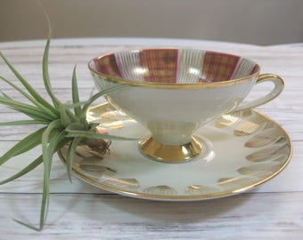 Mismatched Tea Cup and Saucer, Bavaria China Tea Cup, Gold Trimmed Tea set