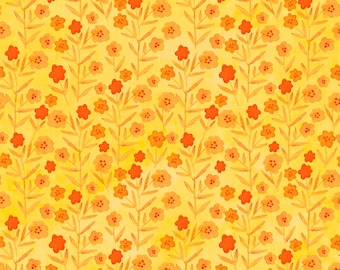 Yellow and Orange Floral Fabric, Summer Room Decor, Curtain Fabric, Apron Fabric, Quilting Supply, Cotton Fabric By The Yard, Fat Quarter