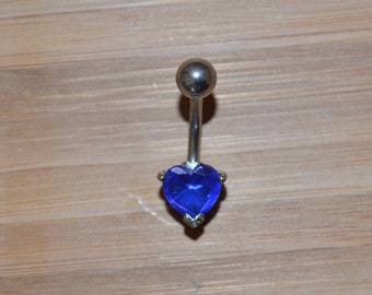 Blue Single Prong Heart Gem Belly Button Ring Navel Body Piercing Jewelry
