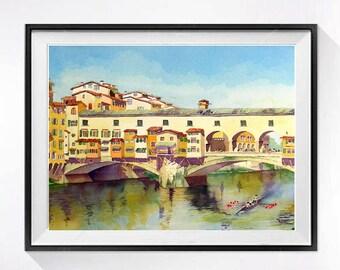 Watercolor Print, Florence Italy, Ponte Vecchio, Landscape print, Famous bridge, Travel art, Bridge illustration, blue beige painting, Sale