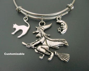Witch Bracelet / Witch on Broomstick Bangle / Halloween Bracelet / Cat Bangle / Moon Bangle / Charm Bracelet / Adjustable and Expandable