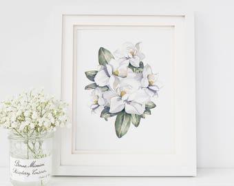 Magnolia Floral Watercolor Print | Magnolia Art Print | Magnolia Painting | Magnolia Farmhouse Decor | Watercolor Floral Painting