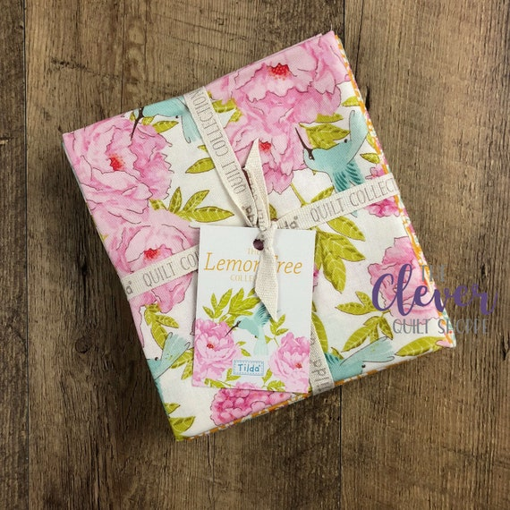 Tilda USA, 5 pcs, Fat Quarter Bundle, Lemon Tree, Floral, Australian, Superior Quality, White, Yellow, Orange, Pink, Precut, Quilting Fabric