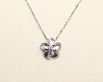 Dainty Diamond Solid gold Necklace/0.10 Ct. Genuine Diamond Necklace/Simple Necklace for Women/Flower Necklace/14k Graduation Necklace