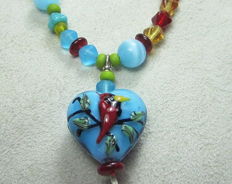 "KSDesigns - ""Birds & Bees'"" with Red Cardinal Heart OOAK sterling necklace"