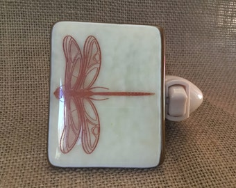 ARTLIGHT Dragonfly Night Light - Brown and Cream fused glass