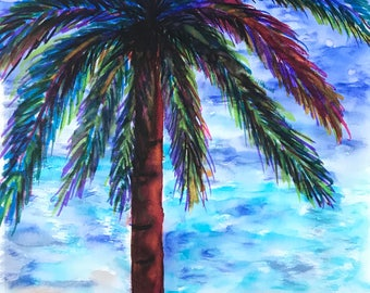 "Watercolor palm tree art 9""x12"" multi color red blue green orange garden flowers"