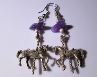 Vintage Sterling Silver Dangle Earring - Carousel Pony with Amethyst Stone Bead