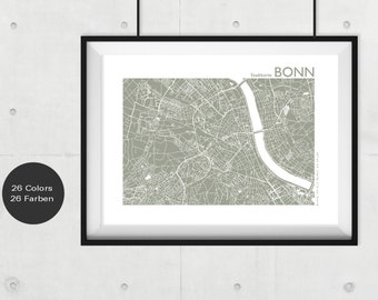BONN City Map, BONN Travel Map, Bonn Art, Bonn Street Map, Bonn Print, Custom City Map, Office Decor, Bonn Gift, modern wall art, souvenir