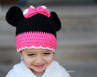 Minnie Mouse Hat, Toddler Minnie Mouse Hat, Toddler Winter hat, Toddler Christmas hat, Toddler hat for Girls