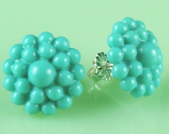 Vintage Turquoise Dotted  Post Earrings