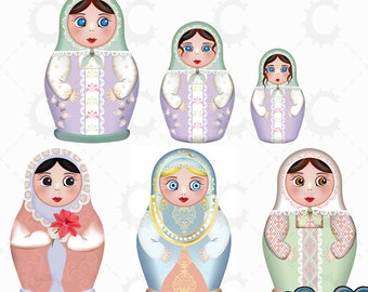 Russian Dolls, Matryoshka Dolls, Babushka Dolls - Pastel - Vector Clipart Collection