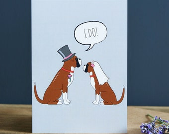 Boxer wedding or engagement  card