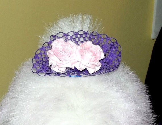 Puppy Bows ~ Pink purple lace floral carnations pet hair dog clip or bands