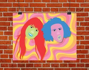 YAS Kween -  Broad City Poster - Abbi & Ilana Psychedelic Print