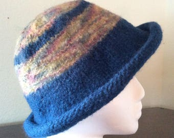 Handmade Felted Blue Stripped Wool Bucket Cloche Hat