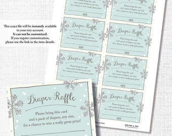 BABY IT'S COLD Outside winter silver snowflake blue baby boy shower diaper raffle ticket card instant digital download diy printable file
