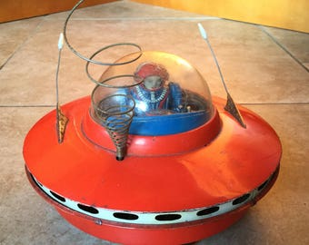 Working Vintage 1950's Cragstan Flying Saucer Battery Op Tin Spaceship Toy Japan