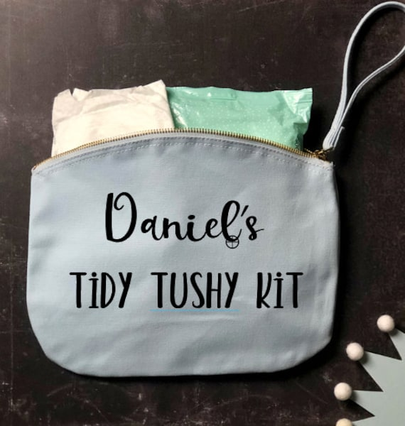 Personalised Tidy Tushy Diaper Clutch in pink & blue