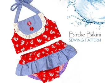 Girls Sewing Pattern, Swimsuit Sewing Pattern PDF, Romper Sewing Pattern, Sunsuit, Toddler Sewing Pattern, Baby Pattern pdf,  BIRDIE BIKINI