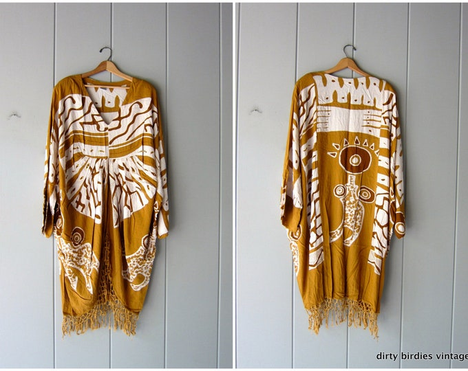 Vintage Summer Caftan Ethnic Print White Camel Earthy Colors Loose Fit Slouchy Crochet Vacation Resort Wear Lounge Beach Tent Dress Boho OS