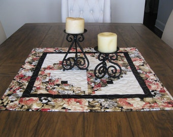 CLOSE OUT SALE Log Cabin Quilted Patchwork Table Topper