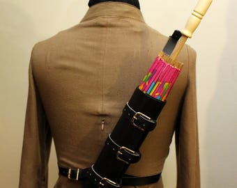 Steampunk Leather Parasol Back Holster