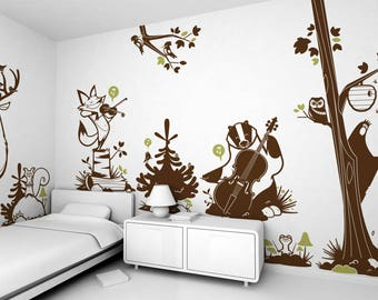 Kids Wall Decals - Forest Animals - 8 Large Kids Wall Stickers (free shipping)