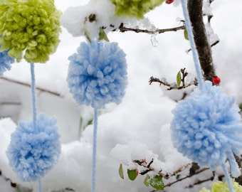 Pom Pom Garland Lime Green and Baby Blue (18) 2 inch Pom Poms 90 Inches -  Nursery Garland * Party Garland * Easter Garland * Baby Nursery