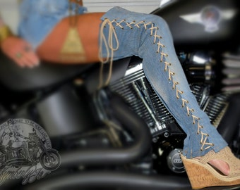 Over the Knee Lace Up Boots Denim