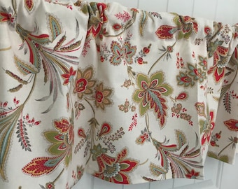 White Pink and Green aqua Fiesta flower curtain valance