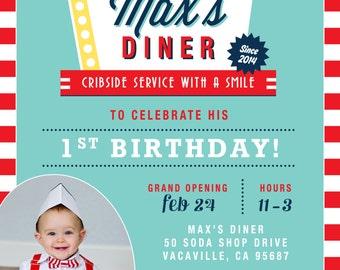Soda Shop Retro 50s Diner Birthday Invitation - Personalized - PRINTABLE- Digital File