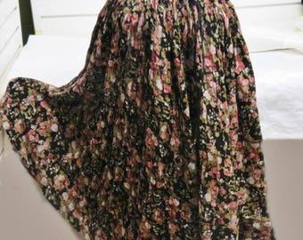 Vintage 1970 Indian Cotton Gauze Hippie Skirt   #592