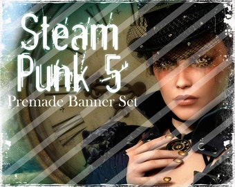 "Banner Set - Shop banner set - Premade Banner Set - Graphic Banners - Facebook Cover - Avatars - Bisiness Card - "" Steampunk 5"""