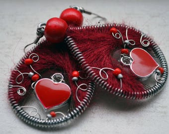 valentine's gift / valentine's earrings / Heart Dangle Earrings  /Love Earrings / romantic earrings / valentine gifts / peruvian earrings