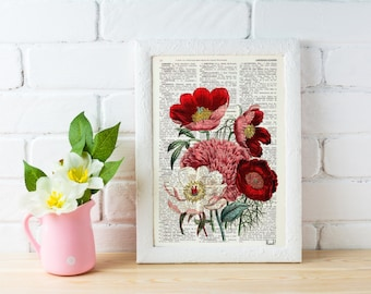 Vintage Book Print Dictionary or Encyclopedia Page Print- Book print Flower Bouquet on Vintage Encyclopedic BFL057