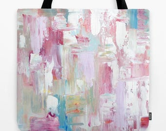 Pink Tote Bag, Abstract Tote Bag in pink