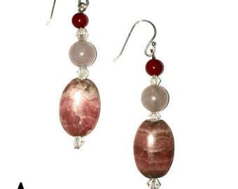 """Earrings : 925 Sterling Silver, Rhodochrosite, Rose quartz, Coral, and Swarovski elements """"Love and healing"""""""