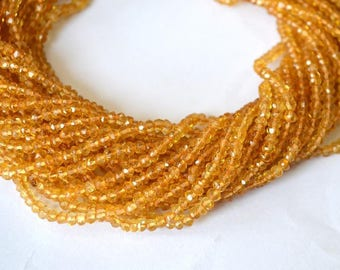5 strand AAA Citrine faceted rondelle beads 3-4mm, Citrine rondelle beads, Citrine loose stone wholesale lot price