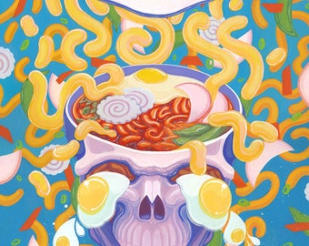 Udon Oodles Noodle Skull Small Art Print // 4.25x5.5 Card // Frame Ready // Illustration painting // Surreal Pop