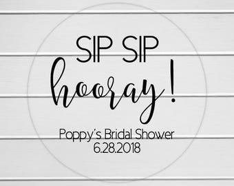Sip Sip Hooray Bridal Shower Labels, Clear Transparent Wedding Shower Stickers, Bridal Favor Stickers (#382-C)