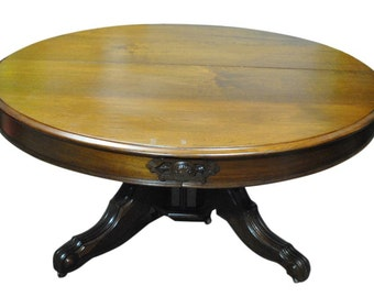 """Antique Rococo Round Walnut Dining Table 63""""Diam to 10 ft Long Oval Circa 1870, PA4603, Shipping Not Free!!!"""