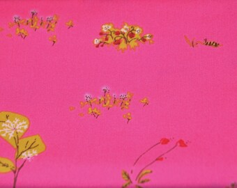FQ Heather Ross Pink Wildflowers Lightning Bugs - Destash Sale Cotton Fabric